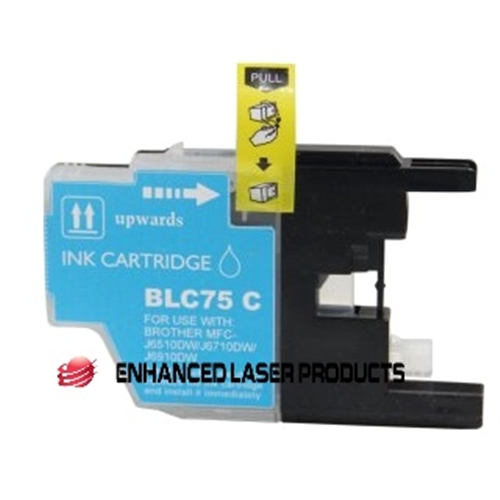 Compatible Brother (LC75C) High Yield Cyan Ink Cartridge (600 Yield)