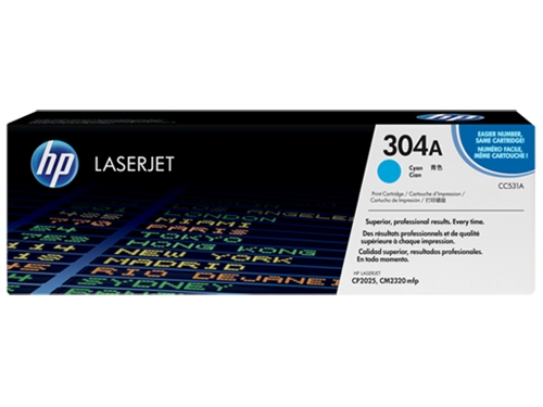 HP 304A (CC531A) Cyan Original LaserJet Toner Cartridge (2,800 Yield)