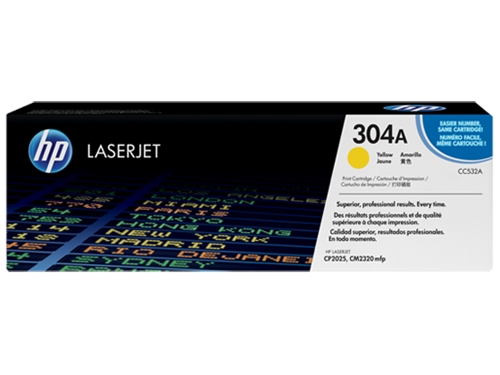 HP 304A (CC532A) Yellow Original LaserJet Toner Cartridge (2,800 Yield)