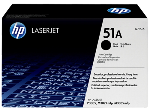 HP 51A (Q7551A) Black Original LaserJet Toner Cartridge (6,500 Yield)